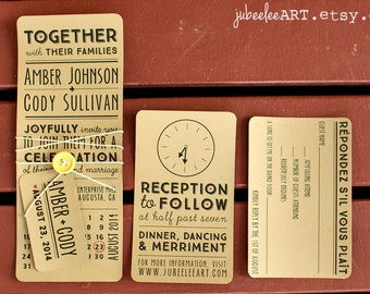 Oblong rustic modern stacked type wedding invitation with calendar date