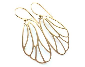 Butterfly Wing Earrings, Gold or Silver Butterfly Earrings, Lightweight Wings