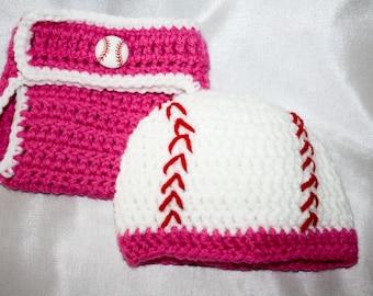 Newborn pink crochet baseball hat with matching diaper cover
