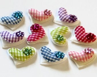 10 Heart Appliques 30mm x 25mm - White Padded Hearts - Gingham Hearts - Flower Sequin - Heart Embellishment - OC01