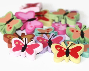 15 Wooden Butterfly Shaped Buttons - painted Buttons - 23mm x 16mm - PW55