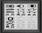 Dodge Blueprint Collection Drawing Art Car Auto Gift BDODG2024