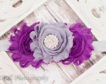 Purple headband-Girls Headband-Shabby Baby Headband-Baby Girl Headband-Newborn Headband-Baby Hairbows-Headband-Hairbow-Toddler