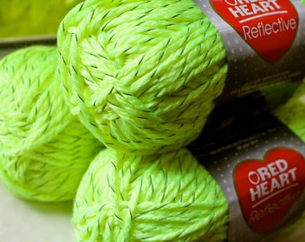 Neon Yellow Reflective yarn lot 3 skeins red heart bulky weight #5