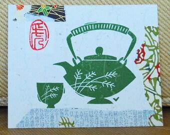 Green Teapot Original Collage