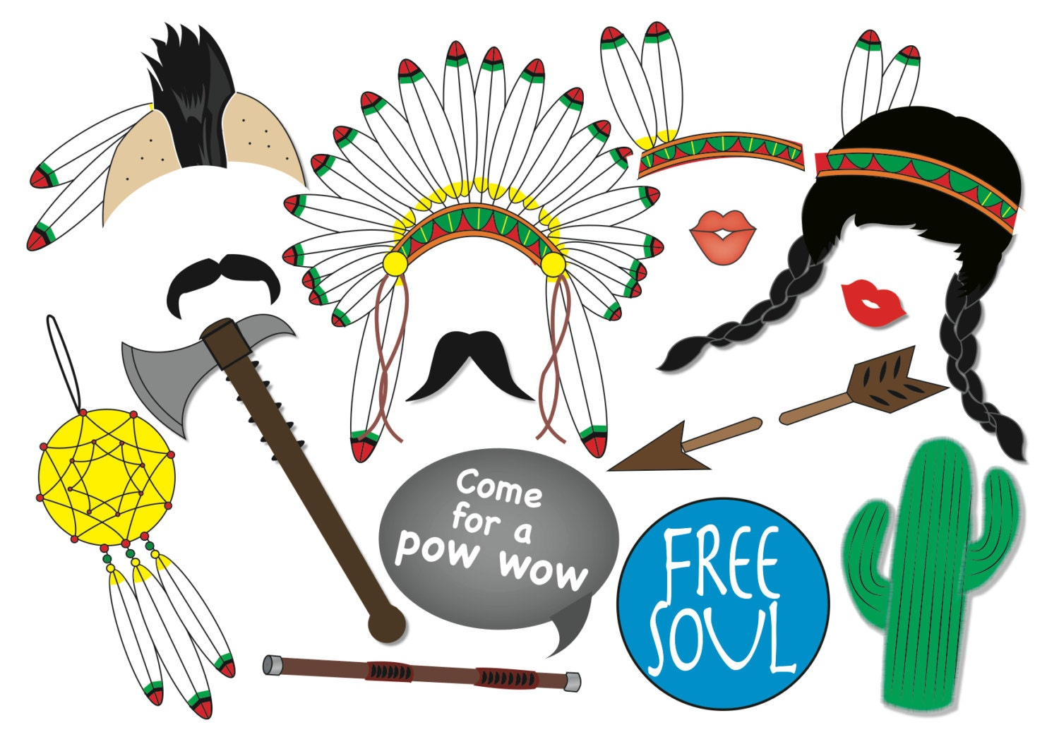 American Indian Photo Booth Party Props Set 15 Piece