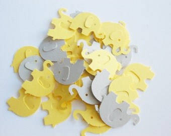 "Elephant Party Decoration, Yellow & Gray Elephant Confetti, Baby Shower, Table Confetti, Party Decoration, 1.5"", 100 Ct."