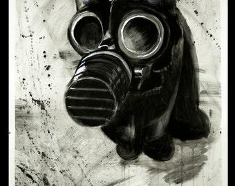 Gas Mask Cat Digital File