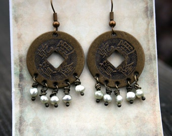 Boho Earrings / Asian Disc/ Wire Wrapped/Czech Beads