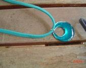 Turquoise elastic choker round pendant 18 inch acryic woman teen gift OOAKHandmade Jewelry
