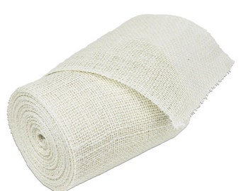 "6"" Off White Burlap Ribbon - 10 Yards (Serged) (2 pack)"