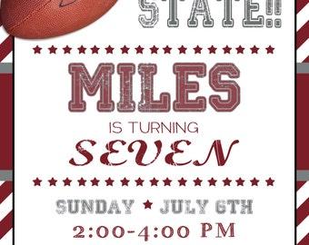 Football Birthday Invitation Football Party Football Invite Boys Birthday Party Sports Party Invitation