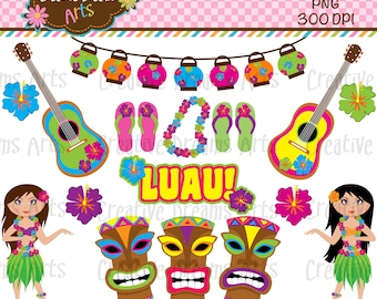 40% Off! Luau Digital Clip Art Instant Download