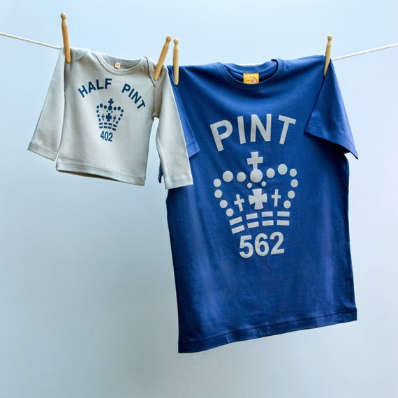 Pint T shirt Matching Father tshirt and Half Pint Twinset Gift for Dad and Son or Daughter in Navy and Grey tshirt tee