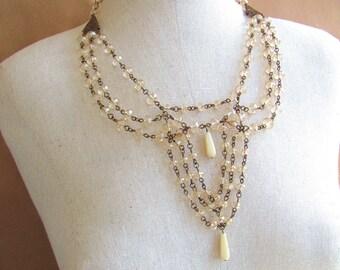 Vintage Style Necklace- Czech Glass and Vintaj Brass/Victorian Necklace /Multistrand Necklace/ Vintaj/Vintaj Jewelry/Beaded Necklace