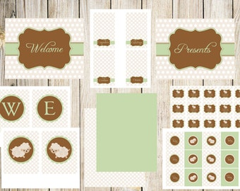 Little Lamb Baby Shower Printable Package in Cream