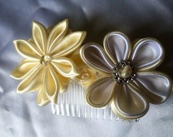 Handmade Bride Wedding  Satin Hair Comb Kanzashi Flowers Accessory unique