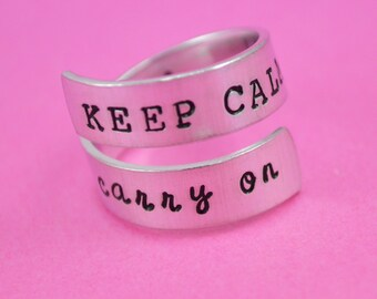 Keep Calm and Carry On Wrap Ring