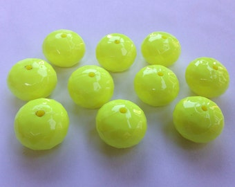 20mm Neon Yellow Faceted Abacus Rondelle Chunky Necklace Bead