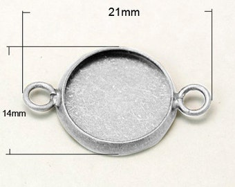 50 pcs Silver Round Cabochon Connector, Inner Tray 12mm