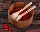 Personalized Wood Salad Bowl with Spoons Engraved and Monogrammed (024235)