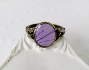 Ring Violet petals . Handmade ring . Violets jewelry