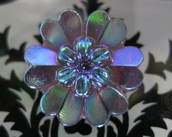 Hearted Double Daisy in Plum Aurora Czech Glass Button 22mm