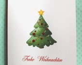 Merry Christmas Tree Folded Greeting Cards - Buon Natale Frohe Weihnachten Joyeux Noël Feliz Navidad - Set of 10 Cards