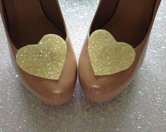 Pastel Lemon Glitter Heart Shoe Clips