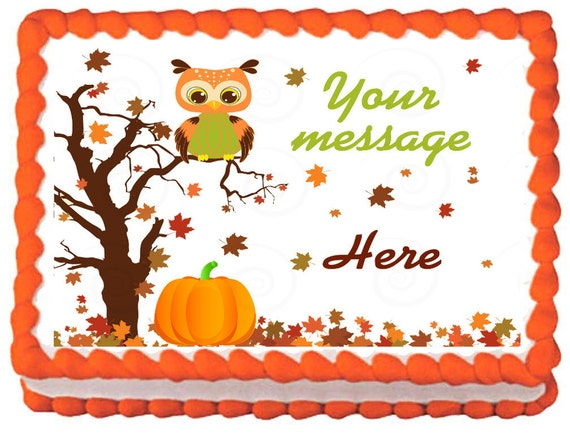 OWL FALL Edible image cake topper 1/4 quarter by ...