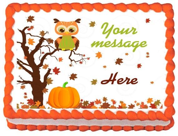 Edible Cake Image Owl : OWL FALL Edible image cake topper 1/4 quarter by ...