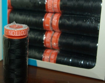 Aurifil Thread, Black cotton, quilting thread, 50 wt, Italian cotton, small spools, sewing notions,