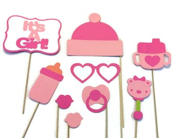 girl baby shower photo booth 9 pi ece photo booth prop set