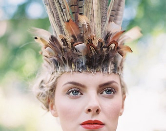 Wild Feather & Lavender Headdress, Feather Headdress, Feather Crown, Pheasant Headpiece
