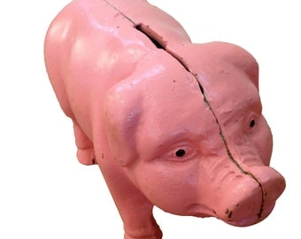 Vintage Pink Piggy Bank - Oink! Oink!