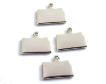 2x Silver Plated Blank Kansas State Charms - M070-KS