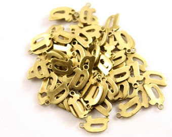 "5x Letter ""D"" Brass Initial Charms - M071-D"