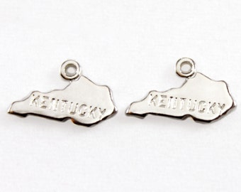 2x Silver Plated Engraved Kentucky State Charms - M072-KY