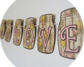 Mason Jar Banner/ So In Love Banner/ Shabby Chic Banner/ Rustic Banner/ Bridal Shower Banner/ Baby Shower/ Anniversary/ READY TO SHIP