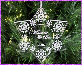 Personalized Custom Engraved  Couple's Christmas Snowflake Ornament