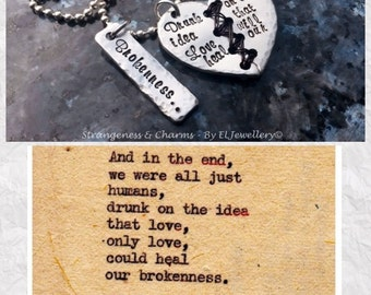 Hand stamped 'Brokenness' Poetry Inspired Stitched Aluminium Heart Necklace,Christopher Poindexter, Metal Jewellery, Broken Heart, Poetry.