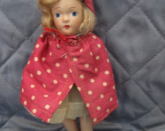 Adorable Vintage Little Red Riding Hood Composition Doll