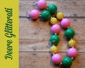 Deere Glitterati Yellow Green Pink Girl Chunky Bubblegum Necklace Birthday Gift Party Favor Accessory Statement Necklace
