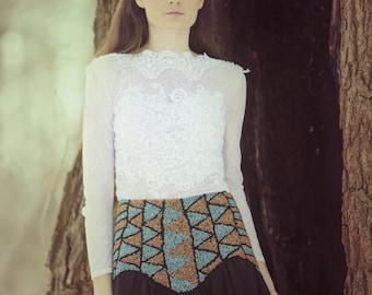 BIG SUMMER SALE Embroidered boho skirt