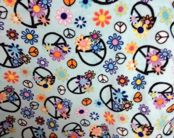 29 x 34 Peace signs blue and black minky and satin baby blanket
