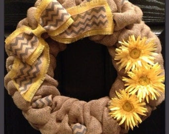 Chevron Burlap Wreath with flowers- Front Door Wreath- Spring Wreath