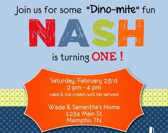 Dinosaur 1st birthday invitation, boy 1st birthday invitation, double sided, digital file