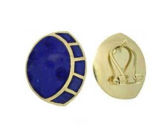 18K Gold and Lapis Lazuli Art Deco Fantasy Earrings