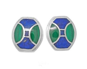 Sterling Silver, Lapis Lazuli and Malachite Art Deco Turtle Shell Earrings