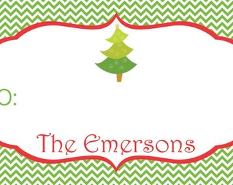 Personalized Christmas Tree on Green Chevron Gift Tag